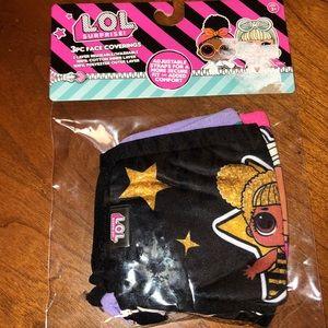 NEW L.O.L. Surprise! Kid's Face Masks 3 pack